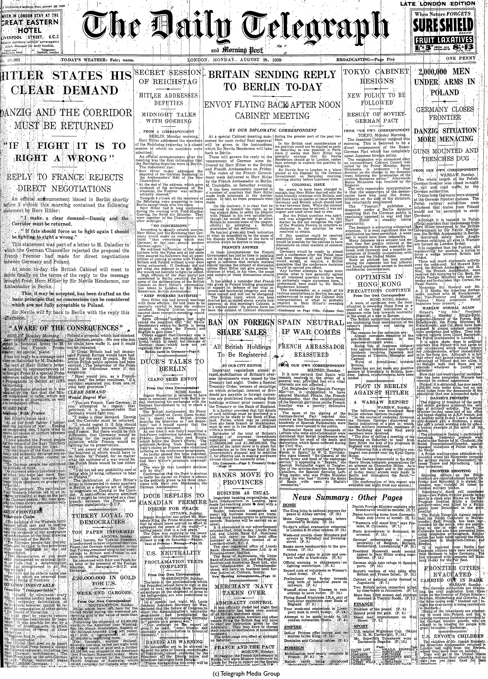 Daily Telegraph 28-8-39 Page 1