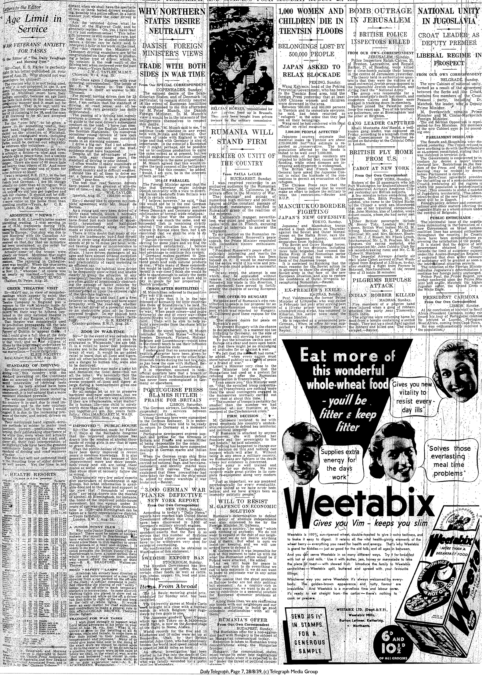 Daily Telegraph 28-8-39 Page 7