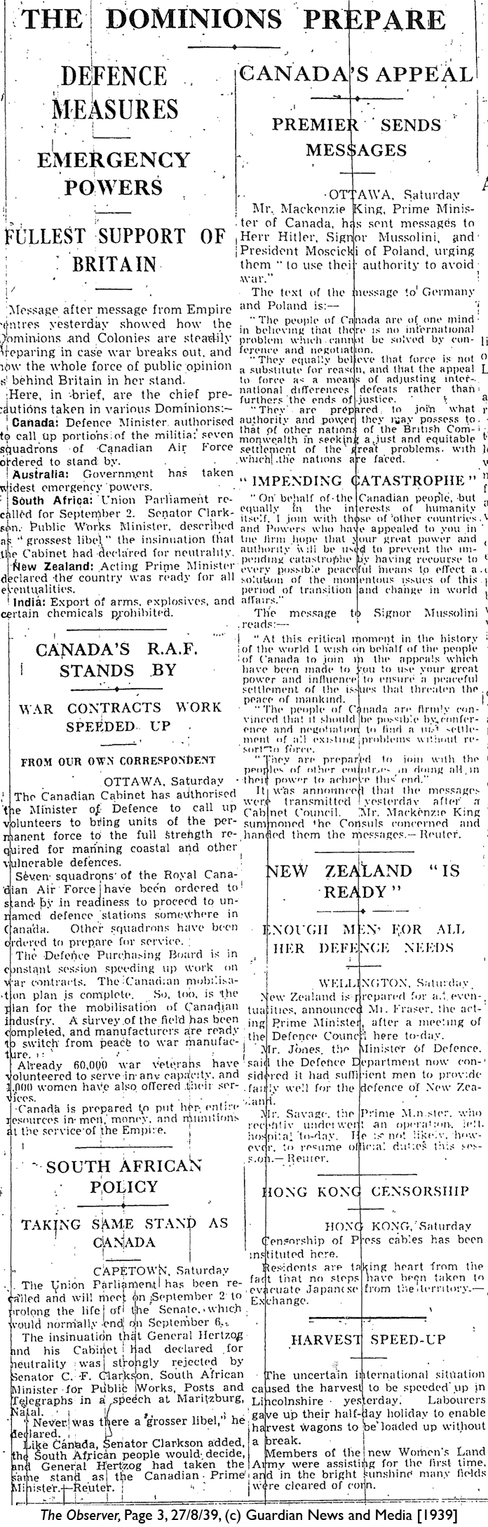 The Observer 27-8-39 Page 3