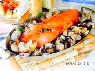 おもてなし料理教室5月のレシピで具材を変えて豪華版の【オマール海老の黒いパエリア】