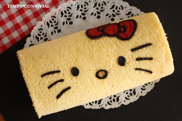 私が作ったキティちゃんのデコロールケーキ