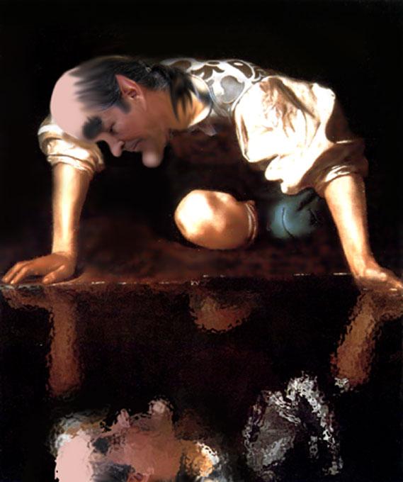 O belo Narciso um dia descobriu-se belo, muito belo refletido no espelho d'água... Numa arte do Saci, depois de Caravaggio.