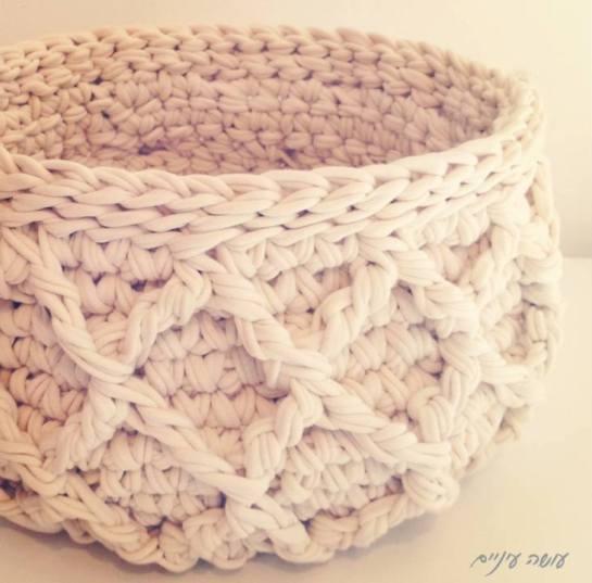 עושה עיניים - סל מחוטי טריקו    OsaEinaim - T-shirt yarn basket