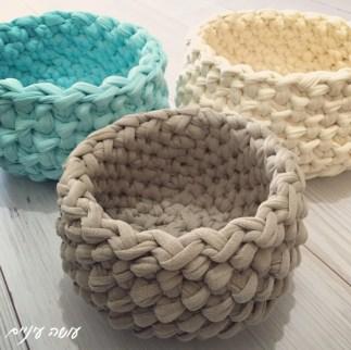 עושה עיניים - סלסלה ארוגה, סרוגה מחוטי טריקו    Osa Einaim - Crochet woven basket t-shirt yarn trapillo