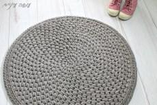 עושה עיניים - איך לסרוג שטיח איקסים מפוצלים בחוטי טריקו - Crochet round waistcoat cross stitch rug