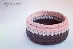 עושה עיניים - סלסלה סרוגה מחוטי טריקו || OsaEinaim - Tshirt yarn Trapillo crochet basket