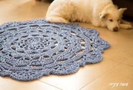שטיח סנורקה מחוטי טריקו - עושה עיניים || T-shirt yarn / Trapillo - Crochet Snorka rug