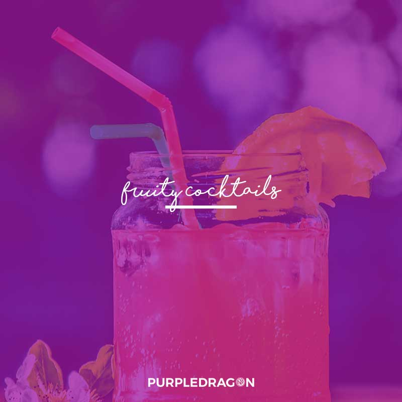 advert for purple dragon fruity cocktails