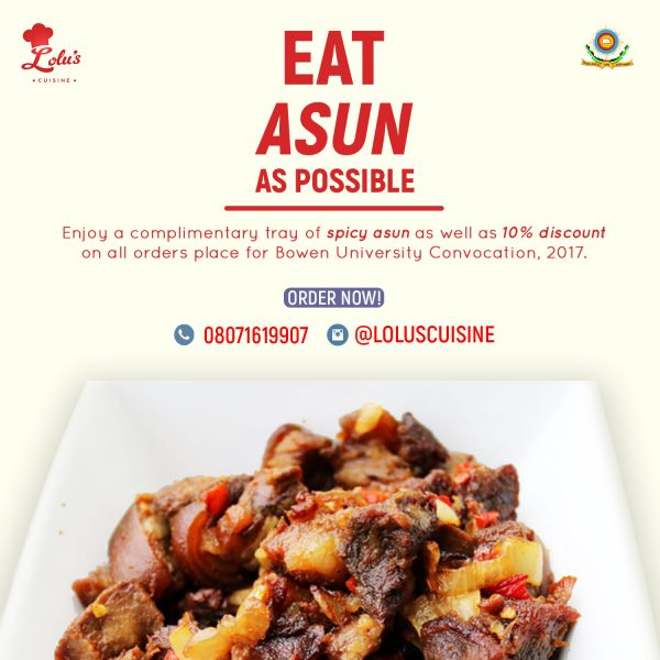 Advert for asun with copy 'eat asun as possible' above a plate of peppered goat meat