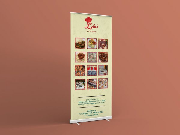 rollup banner for lolu's cuisine featuring images of food