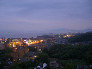 Nightfall over Lake Biwa, seen from Ogoto Onsen