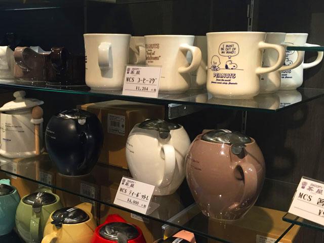 スヌーピー茶屋グッズ,コーヒーマグ,ティーポット (L),シンプルなスヌーピーのイラストが描かれている