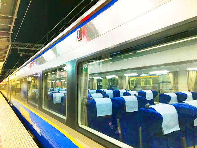 南海特急,サザンプレミアム,電車の外観,駅のプラットフォームから席が見えている様子