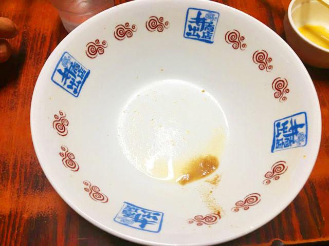 井出商店,和歌山ラーメン,ラーメンを食べ終わった後の器,