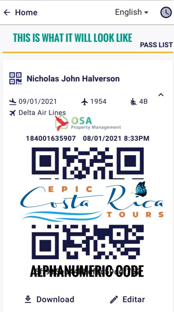 Costa Rica health pass and QR code