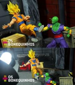 Nesta imagem o Goku está suspenso com um palito de churrasco que está fincado no chão que é feito de isopor.