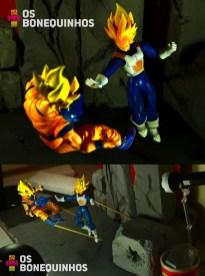 Esta usei um pouco de equilíbrio também e o efeito do Vegeta batendo no Goku eu prendi nele com uma massa adesiva que comprei numa papelaria. Essa massa é muito útil, não estraga a figura e nem fica grudada, é bem legal de trabalhar com ela pra fixar o pé de um boneco ou mesmo prender um efeito dessa forma.