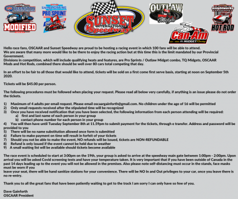 Sunset Speedway Info for 2020