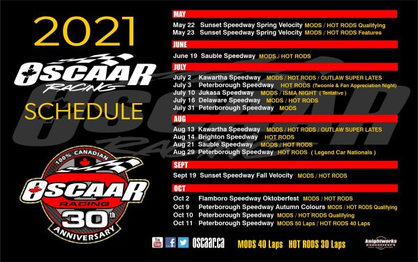 2021 OSCAAR Racing Schedule