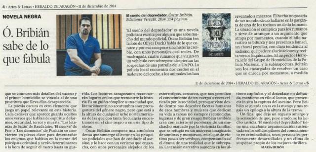 2014_11 diciembre_ArtesyLetras Heraldo El sueño del depredador