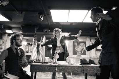 No Limit, répétitions au Cielito Lindo. Mise en scène Robin Goupil assisté par Arthur Cordier. Laurène Thomas, Stanislas Perrin & Augustin Passard.