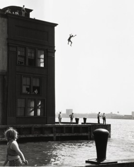 Ruth Orkin, Boy Jumping into Hudson River, 1948, gelatin silver print. The Jewish Museum
