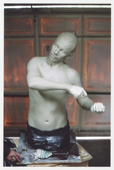 Sculpture of the artist's brother's face and torso