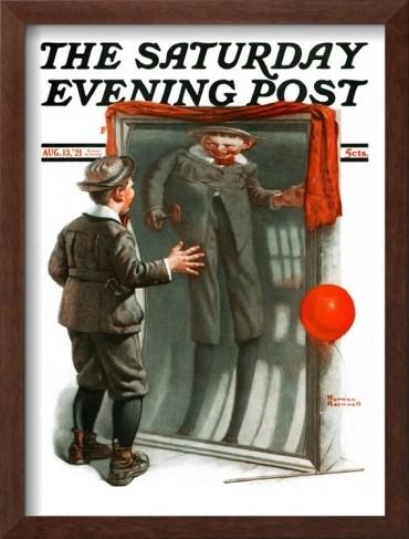"""""""Boy in Mirror"""" o """"Distortion"""". Portada el """"Saturday Evening Post"""" ilustrada por Norman Rockwell. 13 de agosto, 1921"""