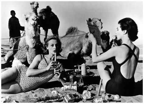 Willian Klein, Tatiana Marie Rose with camels, Morocco, 1958