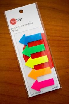 Estas banderitas con flechas son especialmente útiles (Office Depot, Cd. de México)