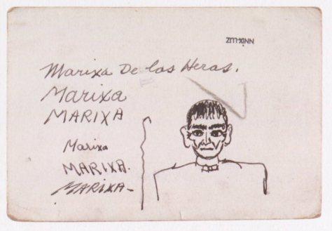 En las fotografías del álbum de Frida hay, frecuentemente, anotaciones e incluso besos marcados con lápiz labial o dibujos. No se sabe con precisión si esta anotación es de la propia Frida.