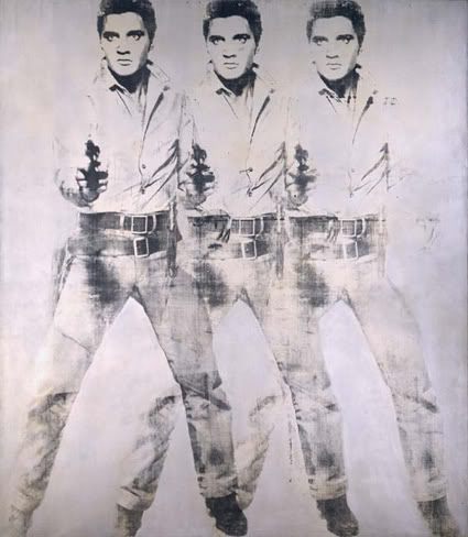 "Obj. No. 85.453Photo No. 49516.CT.2 Andy Warhol (American, 1928-1987) Triple Elvis, 1963 Aluminum paint and printer's ink silkscreened on canvas 82""H x 71""W 208 cm x 180.5 cm Image must be credited with the following collection and photo credit lines : Virginia Museum of Fine Arts, Richmond. Gift of Sydney and Frances Lewis. Photo: Katherine Wetzel © Virginia Museum of Fine Arts"