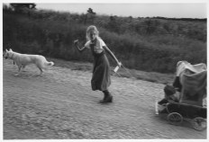 CANADA. Lambton County, Ontario. 1990. Neighbor Sarah LEWIS pulls Naomi TOWELL in a homemade chidlren's wagon with her dog along the township road. Most rural people have a dog for company, a family pet, and to an extent for security. They bark at night if strangers are around. Sinbad is the dog's name.