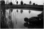 CANADA. Lambton County, Ontario. 1992. The photographer's brother-in-law Mike DEBOEKKER puts his nose in the pond at Larry TOWELL's parents' home to attract the fish which rise to the surface in search of food. ©Larry Towell/Magnum Photos