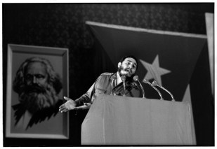 Havana. Fidel CASTRO speaks on reorganization of the party. He displays telegrammes of MALINOWSKI (Soviet Minister) and of MACNAMARA (US Secretary of Defense). Photographed after three hours of speaking at the Teatro Chaplin.