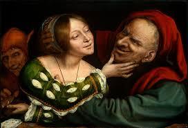 """Belleza y fealdad, aunque opuestos parece que pueden vivir en armonía. """"Amantes mal emparejados"""" Quentin Massys (ca. 1520-25)"""
