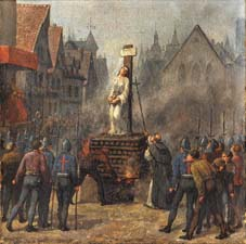 Juana de Arco en la hoguera, en La Plaza del Viejo Mercado en Rouen
