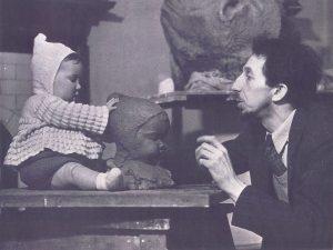 Nemon sculpting his son Falcon