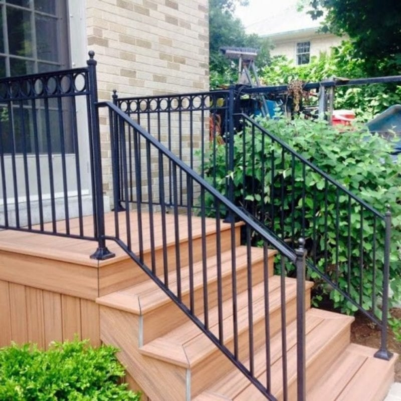 Wrought Iron Balcony Railing Fence Installation Osceola Fence   Installing Wrought Iron Railings On Stairs   Railing Kits   Concrete Steps   Iron Balusters   Outdoor Stair   Stair Spindles