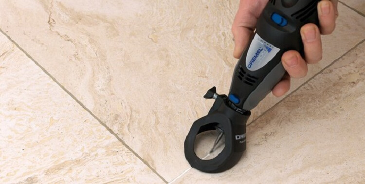 dremoving grout using dremel rotary tool