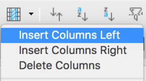 Insert columns in Standard toolbar in LibreOffice Calc