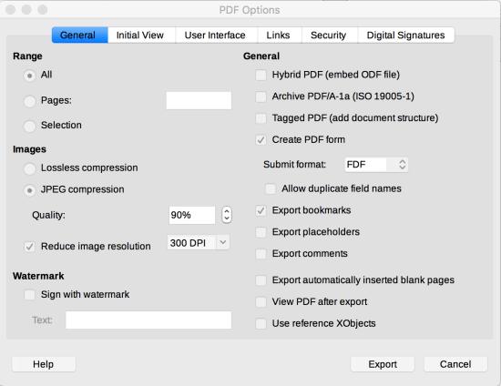 General tab in LibreOffice PDF Options dialog