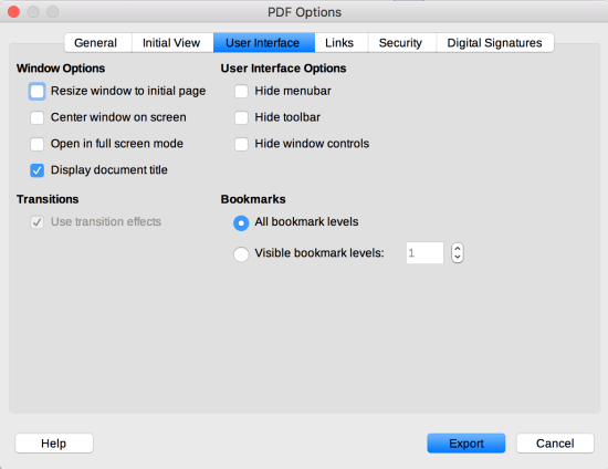 User Interface tab in LibreOffice PDF Options dialog