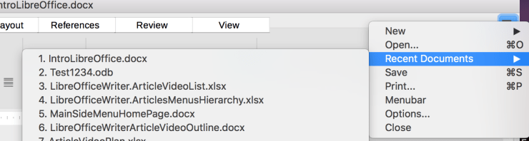 The Recent Documents sub-menu is in the three-bar menu of the Tabbed user interface.