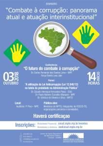 Combate à corrupção: panorama atual e atuação interinstitucional @ Auditório 1º Piso MPE-TO | Tocantins | Brasil