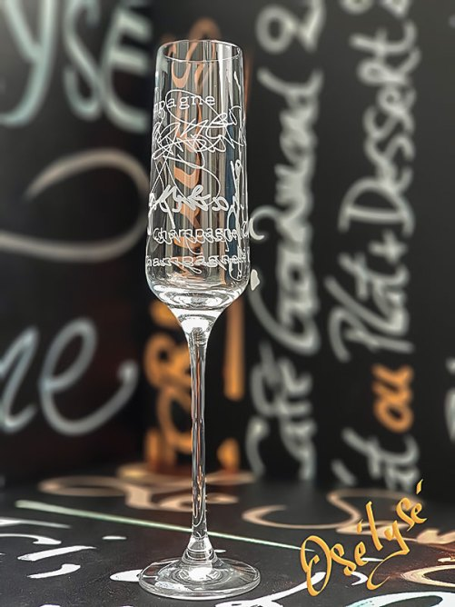Flûte à champagne gravé 19cl en cristallin