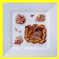 Mini-tarte sablée de nectarine blanche à la sarriette et son tartare