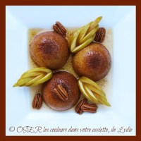 Dômes de baba au Rhum ambré aux 4 épices, pomme Canada et noix de Pécan