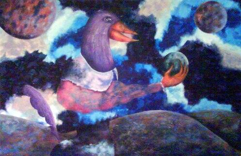 L'oiseau qui sait, Peinture de Laure Gerbaud