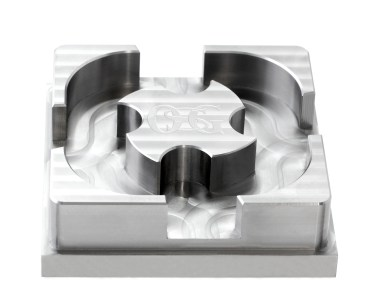 NAK80 block milled by the AE-VMS end mill. NAK80 is a 40 HRC pre-hardened, high performance, high precision mold steel.